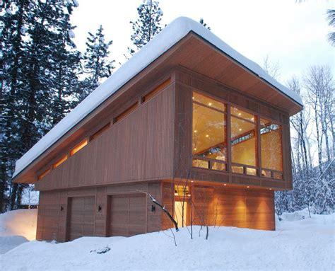cedar garage modern  recessed lights manufactured wood