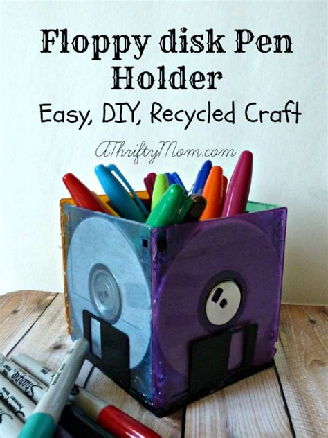 easy recycled crafts for floppy disk pen holder easy diy recycled craft