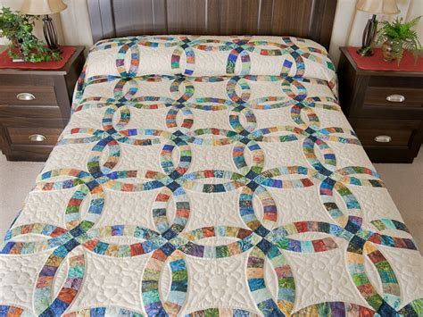 pastel double wedding ring quilt queen size