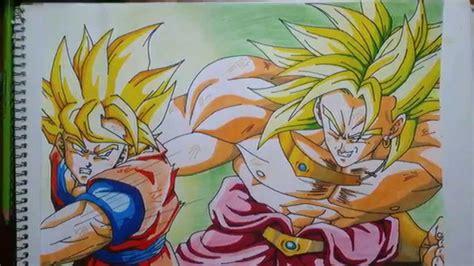 imagenes de goku y broly dibujando a goku vs broly drawing goku vs broly speed