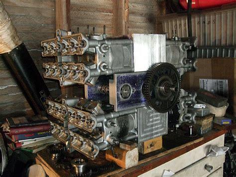 Garage Workshop 16 cylinder h16 engine to power new motorcycle under