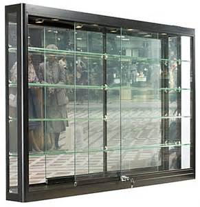 Wall Glass Display Cabinet With Lights Wall Retail Showcase With Lights Black Aluminum
