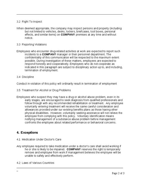 company policy template company policy and controlled substances template