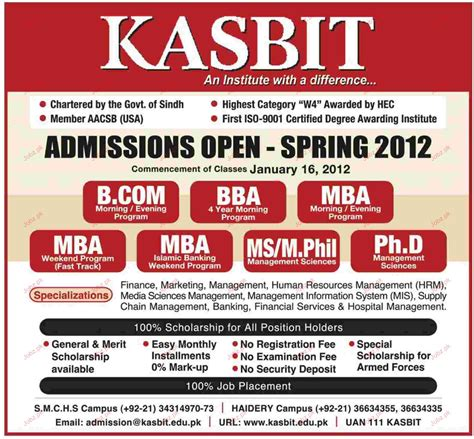 Mba Bba In Pakistan by Admission Open In B Bba Mba In Kasbit 2018