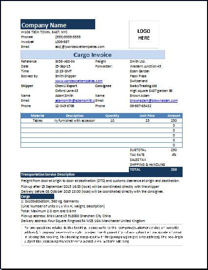 cargo receipt template ms excel cargo invoice template word excel templates