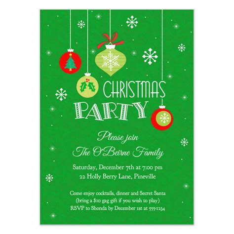 ornaments snowflakes christmas party invitation