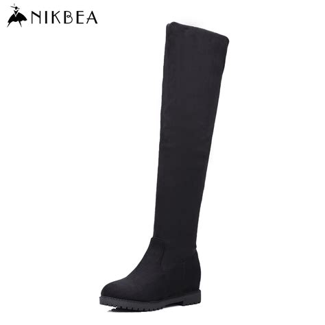 nikbea large size black thigh high boots flat the