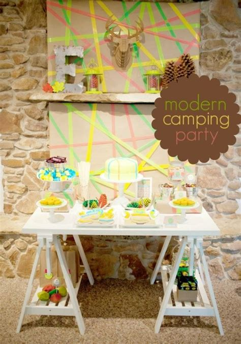 camping themed birthday partyin neon spaceships  laser beams