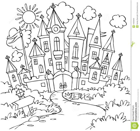 fairy tale castle coloring page castle royalty free stock image image 14555656