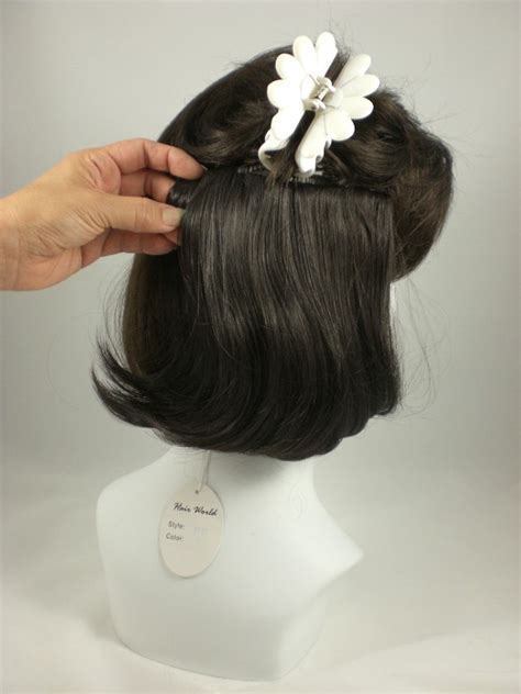 toppers pull thru hairpieces wiglets wigs salt pepper hair enhancer piece pull thru wiglet topper ebay