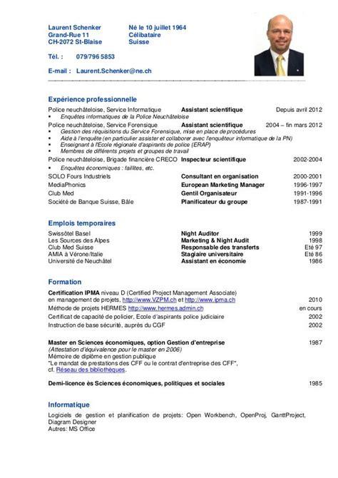 Exemple Cv Suisse by Mod 232 Le De Candidature En Suisse Cv Attestations