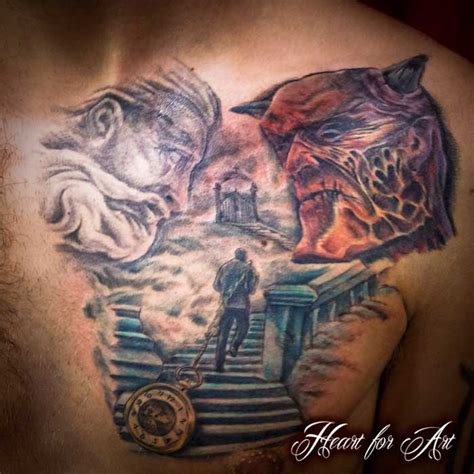 heaven hell tattoo designs stair way to heaven or hell religious chest choose