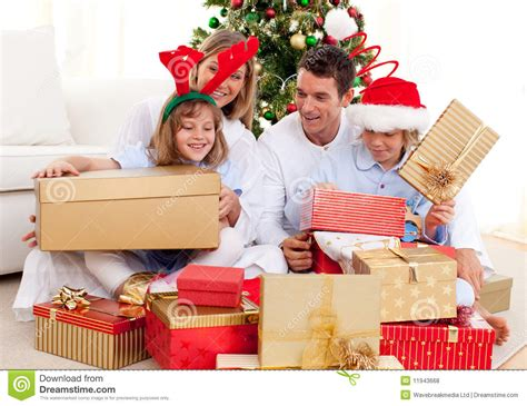 gifts families family with gifts royalty free