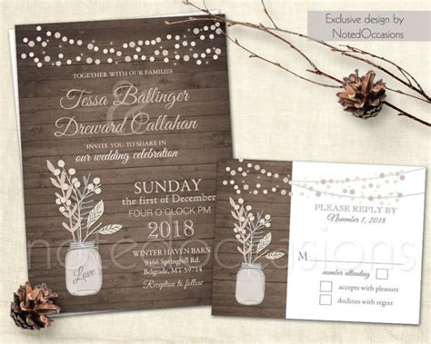country chic wedding invitation templates wedding invitation set jar wedding blush pink gray rustic chic wedding country neutral