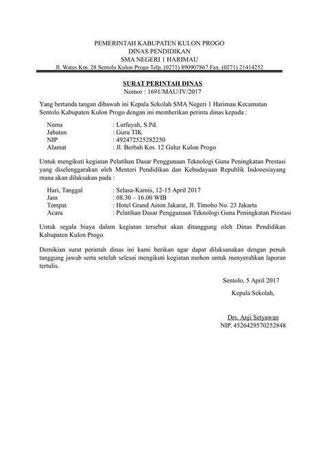 Surat Perintah by Contoh Surat Perintah Tugas Yang Baik
