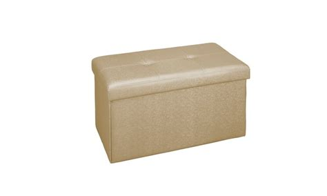 53 Off On Simplify Faux Leather Double Groupon Goods Gold Storage Ottoman