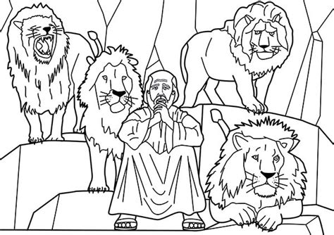 Den Daniel And Four Lions In The Coloring Page  sketch template