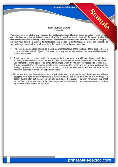 60 day notice of rent increase form letter tenant template fresh