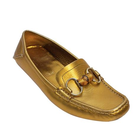 gold loafers gucci 2000s gold loafers with bamboo for sale at 1stdibs