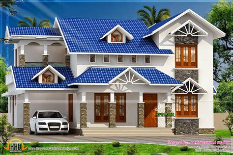 kerala home design  floor plans nice sloped roof