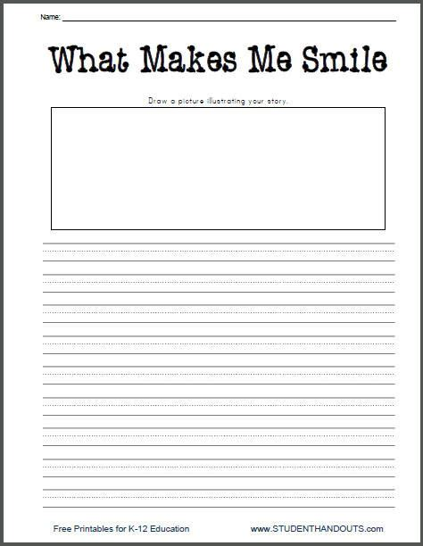 printable journal writing worksheets what makes me smile free printable k 2 writing prompt