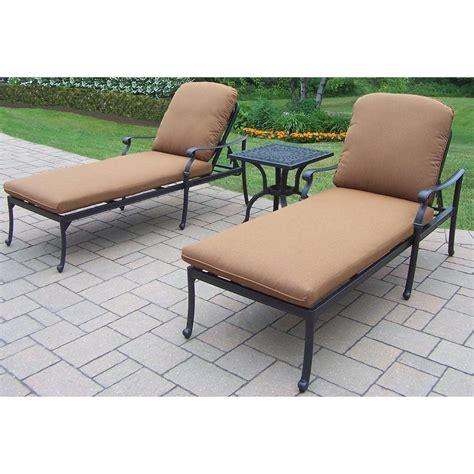 chaise lounge set oakland living hton 3 piece patio chaise lounge set