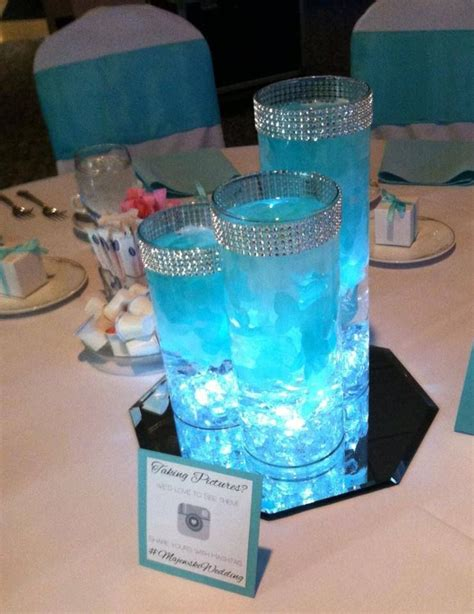 stunning blue centerpiece petals and led lights