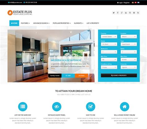 templates of website in html 11 real estate website templates themes free premium