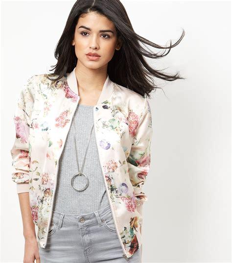 new look pink floral print bomber jacket satiny