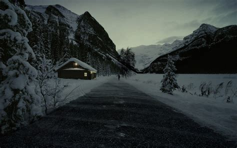 eerie photos of snow blanketing the interior of an creepy mountains winter snow roads cabin wallpaper