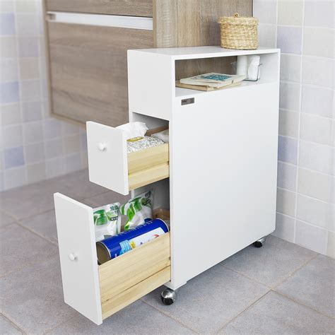 sobuy 174 bathroom cabinet with castors 2 drawers toilet