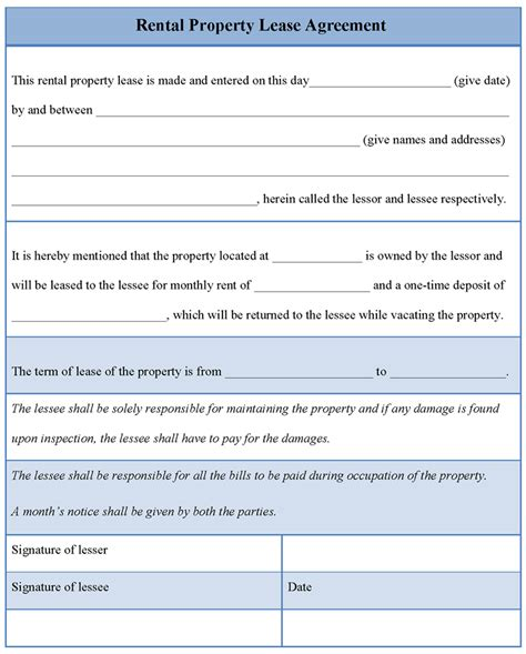 template lease agreement agreement template for rental property lease exle of