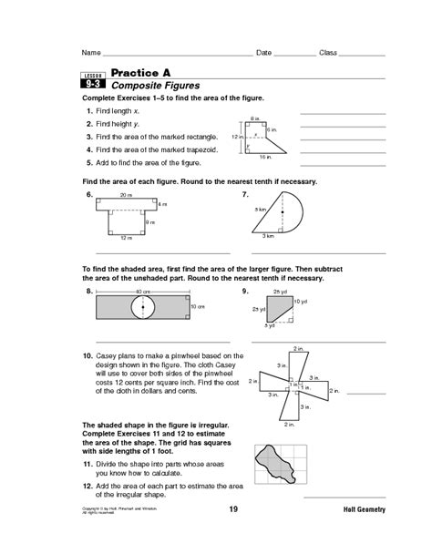 printable area of composite figures maths worksheets composite shapes surface area