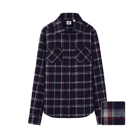 Uniqlo Flannel Shirt uniqlo flannel check pocket sleeve shirt s in blue navy lyst