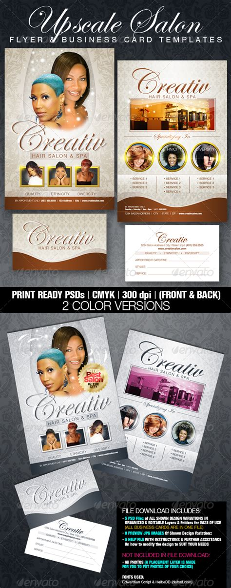 upscale salon flyer business card templates print ad