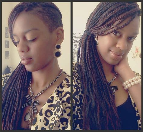 imitate half shaved look with braids half shaved rihanna inspired cut styled with box braids