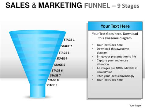 sales funnel templates sales and marketing funnel 9 stages powerpoint