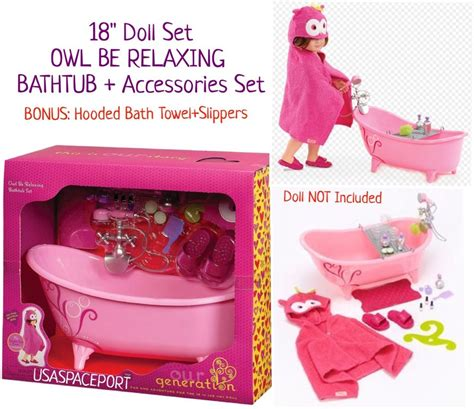 american girl doll bathtub doll pink bathtub owl hooded bath towel fits 18 quot american girl clawfoot tub lot ebay