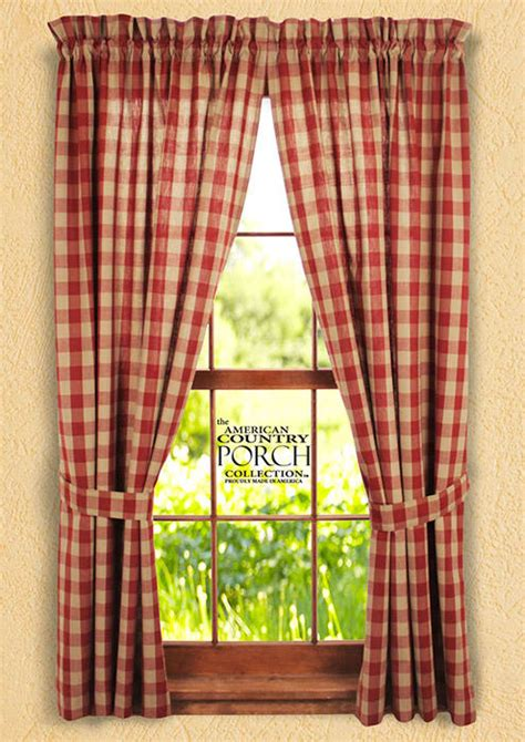 checked curtains country wine teadyed buffalo check tieback curtain panels