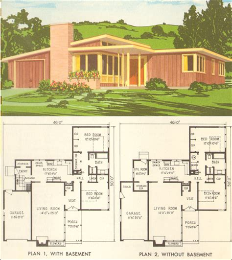 mid century modern house plan no 5305 1954 national