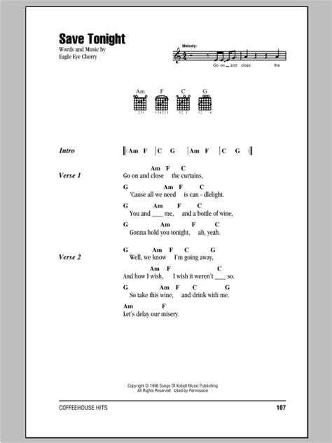 Save Tonight Sheet Music | Eagle Eye Cherry | Lyrics & Chords