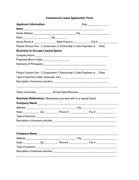 commercial lease application template best photos of commercial truck lease agreement form