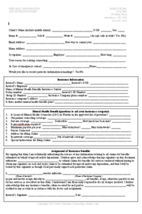 Christian Counseling Forms Exles Counseling Intake Form Template