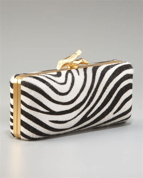 Up Of Designer Animal Print Clutch by Diane Furstenberg Tonda Zebra Print Calf Hair Clutch