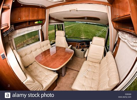 motorhome upholstery seating area and table in concorde luxury motorhome