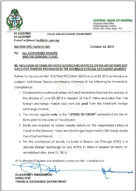 Central Bank Of Libya Letter Of Credit cbn eventually yields to sound reasoning kenespoint