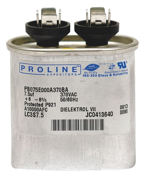 run capacitor ratings proline oval motor run capacitor 7 5 microfarad rating 440vac voltage pb075e000a440cagr