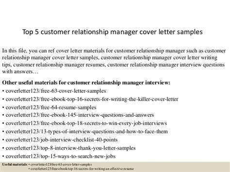 Customer Relation Letter Meaning Top 5 Customer Relationship Manager Cover Letter Sles