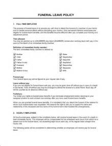 Sick Leave Policy Template by Funeral Leave Policy Template Sle Form Biztree