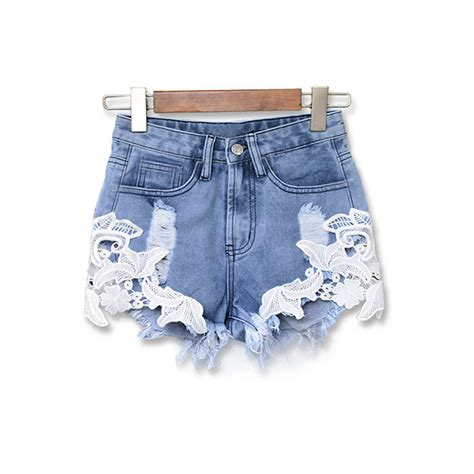 Blue Retro Denim Top 42825 summer 2016 ripped high waist casual shorts